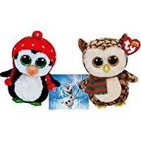 Ty Beanie Boos WISE Owl with Scarf and FREEZE Penguin with Knit Hat 6