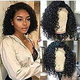 Perruque de cheveux humains, brésiliens, vierges Remy non traités 8A pour femmes noires, sans colle, frisés, avec dentelle avant, densité 130 %