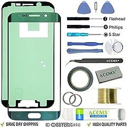 ACENIX® Écran de remplacement d'objectif kit de réparation pour Samsung Galaxy S6edge Vert émeraude + 2mm de ruban adhésif et réparation d'ouverture Pry outils