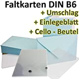 50 Stück // DIN B6 Faltkarten + Umschläge + Einlegeblätter + Cellobeutel // HELLBLAU // Größe: 23 x 17 cm (gefaltet 11,5 x 17 cm) // 240 g/qm // Aus der Serie FarbenFroh von NEUSER!