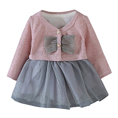 (Prinzessinenkleid, ✨LANSKIRT 2 Stück Säugling Kleinkind Kleidung Baby Mädchen Tutu Prinzessin Kleid + Mantel Outfits Kleidung Set)