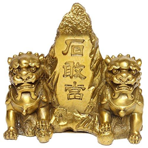 Handgefertigt Messing Löwe Statue sitzen neben shigandang Mountain Figur Home Ornaments für Schutz (M) bs064