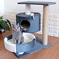 Multi-Level Cat Trees with Sisal-Covered Scratching Posts, Plush Perches and Condo for Kittens, Cats and Pets (70cm, blue)