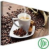decomonkey Akustikbild Kaffee Küche 135x45 cm 1 Teilig Leinwand Wandbilder XXL Schallschlucker Schallschutz Akustikdämmung Wand Bild leise Caffee Tasse Zimt braun
