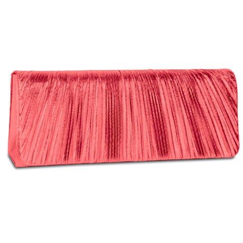CASPAR Damen elegante Abendtasche / Clutch mit edel gerafftem Obermaterial und Zusatzkette - viele Farben - TA318 rot