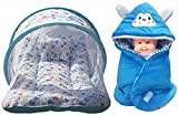 #7: BRANDONN NEWBORN Premium Combo Of Toddler Mattress With Mosquito Net(Assorted color) And Hooded Baby Blanket(Pack Of 2)