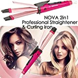 Nova Plastic 2 in 1 Curler and Straightener or Hair Styling, Medium (Pink, NHC1818SC)