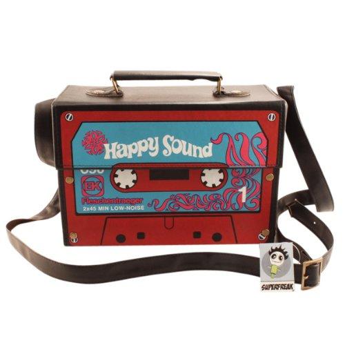 """Superfreak® Tasche """"Kofferradio - Happy Sound Kassette"""" Tape°Boombox°Radiotasche, Farbe: schwarz"""