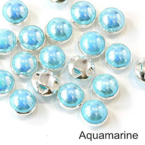 Penveat 100 pezzi perline colorate pearl cucitura per cucire strass con argento/oro artiglio natator mezzotondo perla per vasi abbigliamento b3120, aquamarine argento 8mm - 100pcs