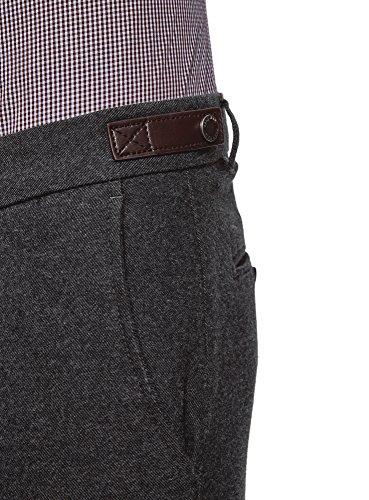 oodji Ultra Herren Enganliegende Hose aus Festem Stoff mit Besatz aus Lederimitat Grau (2323O)