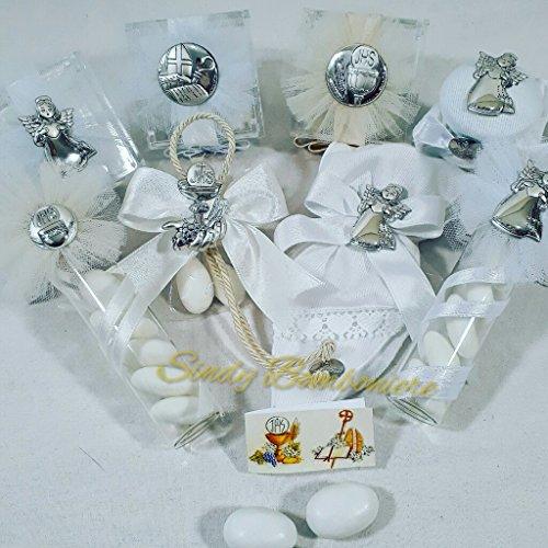 Bomboniere cherry & peach linea vangelo (barattolino in vetro (dimensione 66x4cm circa) con applicazione in argento di angelo con cuore e fiocco in raso bianco)