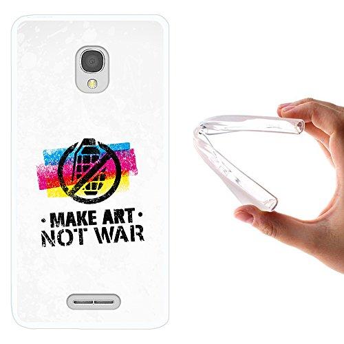 WoowCase Alcatel OneTouch Pop Star Hülle, Handyhülle Silikon für [ Alcatel OneTouch Pop Star ] Graffiti Make Art Not War Handytasche Handy Cover Case Schutzhülle Flexible TPU - Transparent -