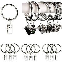Qiorange 10 STK. 35mm Durchmesser Mehrzweck Vorhang Clip Gardinenstange Gardinenringe Vorhangringe mit Clips Silber (10 Pcs Silber Typ A)