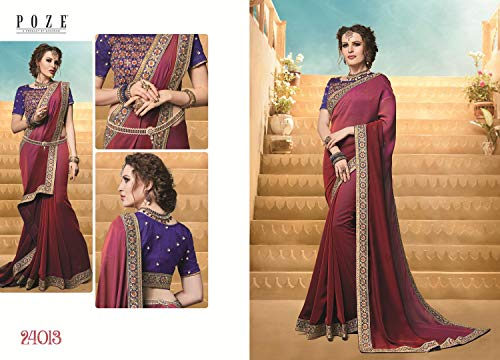 0bef7b387309 Crazy Bachat Indian Designer Maroon Satin Silk Party Wear Saree With Free  Stretchable Blouse - £52.99