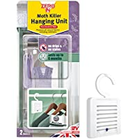 Zero In Moth Killer Hanging Unit, Scent-Free, Kills Clothing Moths, Larvae and Eggs in Wardrobes, 6 Months Treatment (Twin Pack)