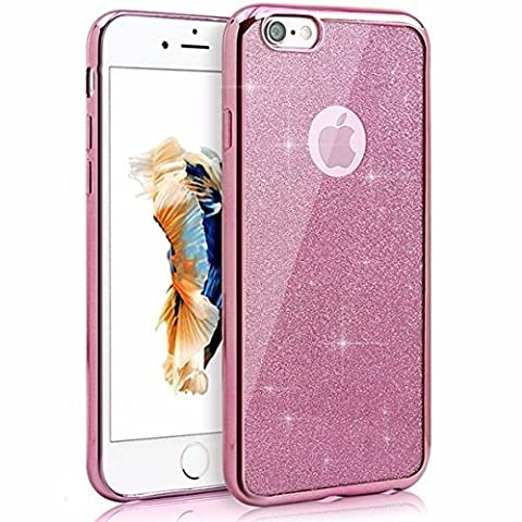 iPhone SE 5 5S Coque, Bling Glitter détachables Ultra-Thin Electroplating Soft Technology Gel Silicone TPU Retour Housse Coque pour iPhone SE iphone 5 5S [rose]