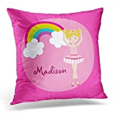 Yuerb kissenbezüge Ballerina Cute Pink Ballet Girl Blonde Decorative Pillow Case Home Decor Square 18 x 18 Inch Pillowcase