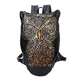 Double Schulter Tasche Halloween Rock Unisex Erwachsene Leisure Travel PU Rucksack 3D Owl Tattoo Tier Tasche (Gold)