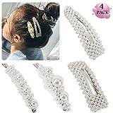 Perlen Haarspangen - 4 Stücke Perlen Haarspangen Haarnadeln Haarklammer Hochzeit Braut Haarschmuck Make-Up Zubehör für Mädchen Frauen