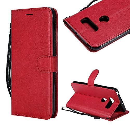 CESTOR Brieftasche Handyhülle für LG Q6,Magnetverschluss Flip Ultra Dünn Weich Silikon PU Leder mit Faltbar Stand und Halter Kreditkarte Slots hülle für LG Q6,Anti-Kratzer Weich TPU Silikon Innere Schutzhülle für LG Q6,Rot