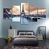 Stampe e Quadri su Tela,5 Pezzi Paesaggio Urbano di Parigi Torre Eiffel Poster HD Soggiorno Decorazione Taglia B