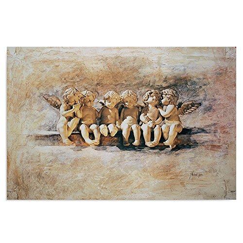 Feeby Frames, Cuadro de Pared, Cuadro Decorativo, Cuadro Impreso, Cuadro Deco Panel, 60x80cm (ÁNGELES, Blanco, Beige)