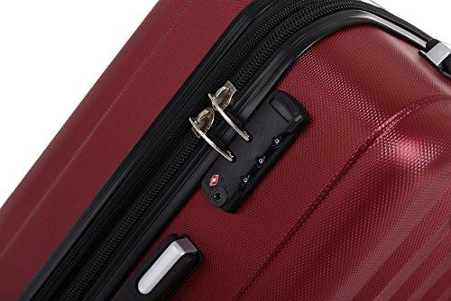 TSA-Schloß 2080 Hangepäck Zwillingsrollen neu Reisekoffer Koffer Trolley Hartschale XL-L-M(Boardcase) in 12 Farben (Weinrot, Set) - 2
