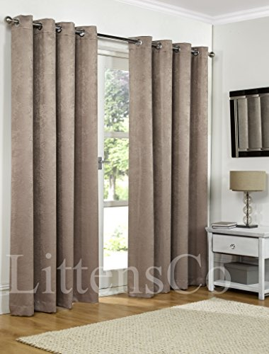 SW Living 46″ x 54″ Mink Brown Heavy Soft Woven Thermal Blackout Pair Curtains Ready Made Eyelet, Ring Top Fully Lined