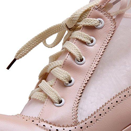 AllhqFashion Damen Spitz Zehe Hoher Absatz Weiches Material Niedrig-Spitze Rein Stiefel Pink