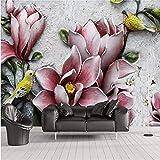 Wallpaper Mural Fotos 3D Magnolia Blumen Elk Forest Flying Birds Relief Wohnzimmer Hintergrund W400xH280CM
