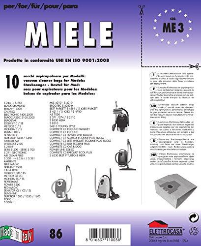 10 sacchetti per aspirapolvere alternativa compatibile con FJM HyClean 3D Efficiency Miele tipologia MSM 18 con filtro incluso 9917710 chiusura automatica antiperdita