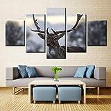 Zxdcd 5 Stücke Hirschgeweih Poster Wandkunst Bild Home Decoration Wohnzimmer Leinwanddruck Bild Druck Auf Leinwand-40X60Cmx2 40X80Cmx2 40X100Cm