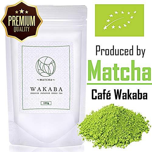 Matcha Pulver Bio Premium 100g - Hergestellt vom Matcha Café Wakaba - Echter Bio-Matcha (DE-ÖKO-013) - Ohne Zusätze,vegan,rein natürlich - Perfekt für Latte Smoothie Ice Tea