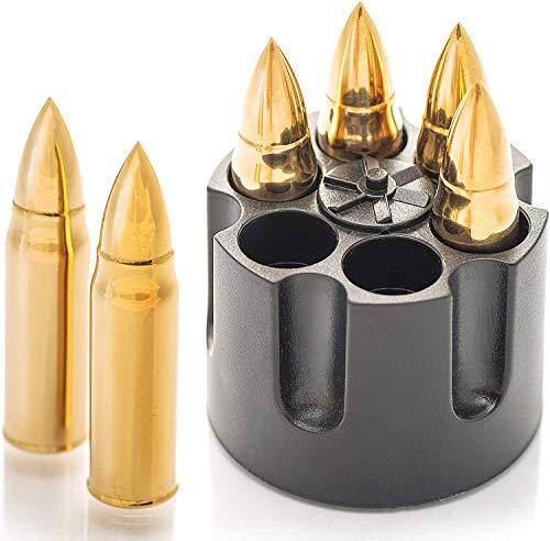 AIOXY Gold XL Edelstahl Whisky Steine Bullets - Hohe Kühltechnologie - Geschenk für Männer - Eiswürfel Wiederverwendbar - Edelstahl Eiswürfel - 6 Whiskey Patrone Männer Geschenke Whiskey Zubehör