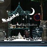 About1988 Weihnachten Aufkleber, Weihnachts Wandaufkleber Dekoration Aufkleber für Vitrine Fensterdeko Set Selbstklebend Abnehmbare PVC Winter Dekoration 35 * 50cm (Weiß)
