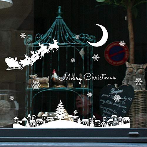 Theshy Weihnachtssticker Weihnachtsdeko Deko Abziehbild Wandaufkleber Wandtattoo Wandsticker Weihnachtsmann Christmas Restaurant Mall Dekoration Schnee Glas Fenster Abnehmbare Aufkleber