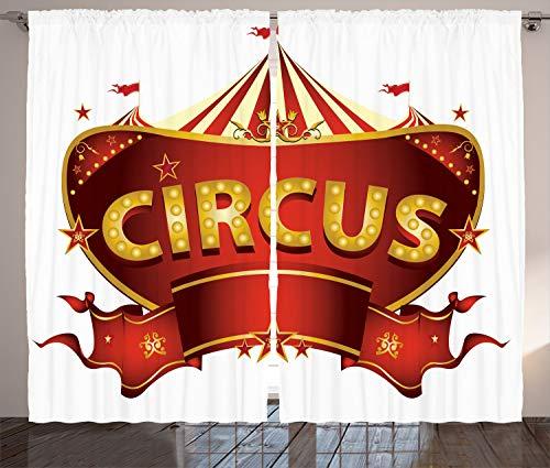 tikaler Gardine, Karneval Zeichen Nachtleben, Schlafzimmer Kräuselband Vorhang mit Schlaufen und Haken, 280 x 260 cm, Goldweiß Rot ()