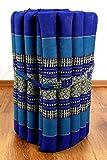 Kapok Rollmatte in 190cm x 50cm x 4,5cm der Marke LivAsia®; Liegematte bzw. Yogamatte, Thaikissen, Thaimatte als asiatische Rollmatratze (blau)