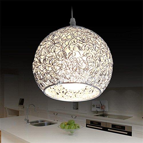 LED Argento Creativo Metallo Lampadario Base in Alluminio Emisfero Rotondo Sfera Ombra Single Ciondolo Luce Interno Ristorante Droplight Lampada da Soffitto (Lampadina Non Inclusa)