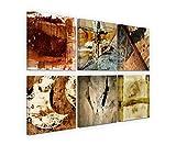 Exklusive Bilder auf Leinwand bespannt (6 Stück 40x40cm) - Abstrakt Rottöne Brauntöne Expressiv Kunst