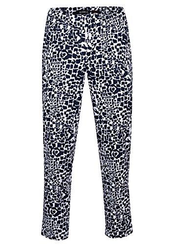 Robell Bella Slim Fit 7/8 Baumwoll-Stretch Schlupfhosen Damen Hosen #Bella 09 schwarz-animal print