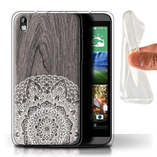 Stuff4® Gel TPU Hülle/Case für HTC Desire 816 / Rustikales Muster/Fein Spitzenborte Holz Kollektion