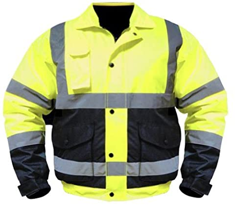Utility Pro UHV563 Nylon/Polyester High-Vis Bomber Jacket with Zip-Out Fleece Liner with Dupont Teflon fabric protector, Lime/Black, X-Large by Old Toledo Brands