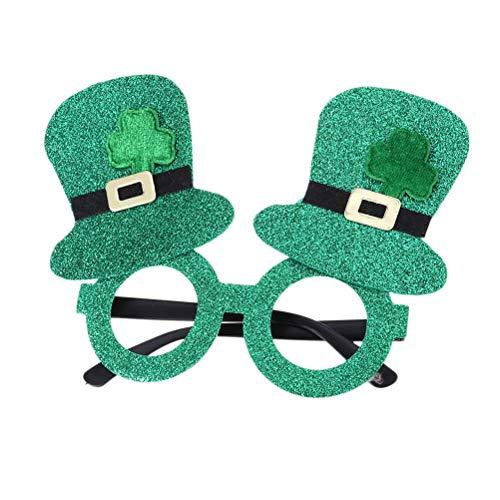 BESTOYARD St. Patrick's Day Shamrock Glitter Brille Kobold Lensless Hut Brille Party Dress Up Brille 2pcs