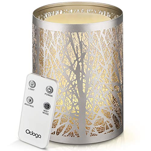 Odoga Aromatherapy Oil Diffuser, Ultrasonic Whisper Quiet Cool Mist Humidifier with Remote Control, Warm White Color, Candle Light Effect & Decorative Silver Iron Cover - 100ml