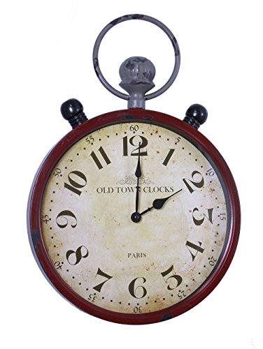 FRANK FLECHTWAREN 221053Old Town Clocks Wanduhr Antik Finish aus Metall, Rahmen in rot und grau, Zifferblatt mit Glas