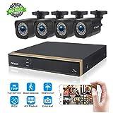 Kit de Vidéosurveillance, 4 Canaux 1080P DVR et 4 Caméras de Sécurité 720P HD Système de Surveillance avec Vision Nocturne, Détection de Mouvement