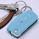 Soft Case Schutz Hülle Auto Schlüssel FORD Focus Fiesta Ecosport S-Max Kuga C-Max Klappschlüssel Remote / Farbe: Fluoreszierend Blau (leuchtet im Dunkeln!)