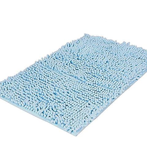 Pingenaneer Tapis de Bain Absorbant Antidérapant / Super Doux Tapis de Douche Tapis Microfibre pour Salle de Bain - 50 x 80 cm(Bleu ciel)