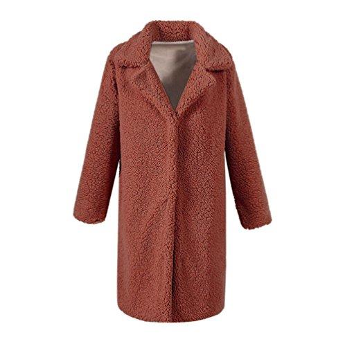 Yuandian donna autunno e inverno casuale risvolto lungo cappotti di pelliccia sintetiche morbido caldo elegante giubbotto finta pellicce ecologica cappotto parka cammello scuro m